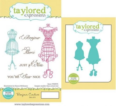 TEPS075 ~ BONJOUR COUTOUR - SET OF Stamps with coordinating dies by Taylored Expressions